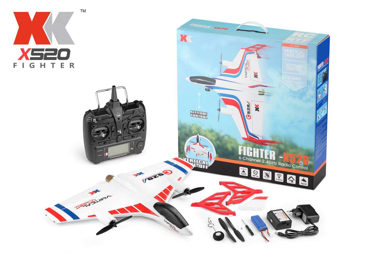 XK X520 RC AirPlane Drone (XK X520 vertically flight brushless 6 channel rc plane),with X8 big Version Transmitter