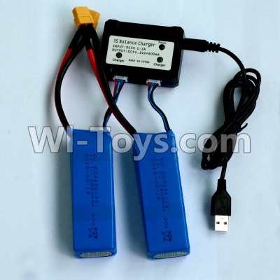 Wltoys WL915 Parts-2pcs 1200mah battery & Upgrade USB And Balance charger-Can charger two battery at the same time,Wltoys WL915 Boat Parts