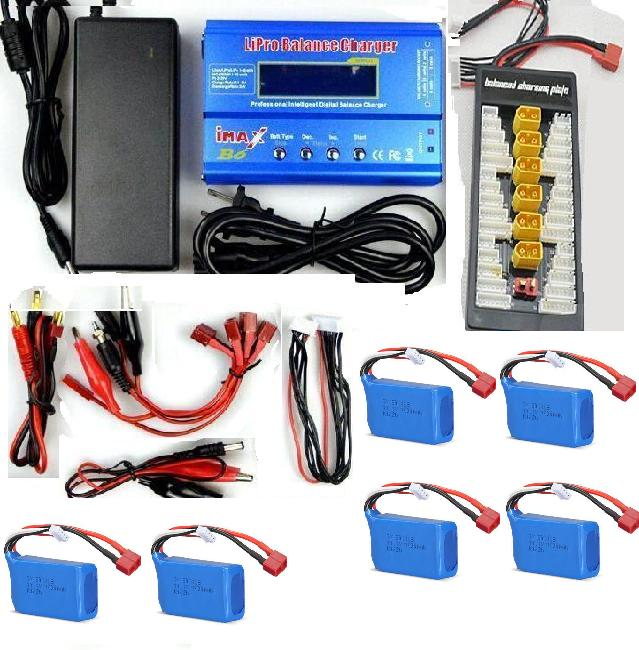 Wltoys WL915 Parts-6pcs 1200mah battery & Upgrade Charger unit,Can charger 6x battery at the same time(Power & B6 Charger & 1-To-6 Parallel charging Board),Wltoys WL915 Boat Parts
