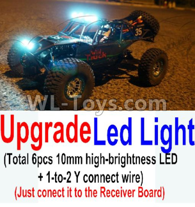 Wltoys 10402 Upgrade LED light unit(Total 6pcs Light and 1pcs 1-TO-2 Y-shape connect wire),Wltoys 10402 Parts