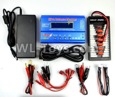 Wltoys 10402 Upgrade Charger unit,Can charger 2s or 3s 6x battery at the same time(Power & B6 Charger & 1-To-6 Parallel charging Board),Wltoys 10402 Rc Car Parts,High speed 1:10 Scale 4wd,10402 Electric Power On Road Drift Racing Truck C