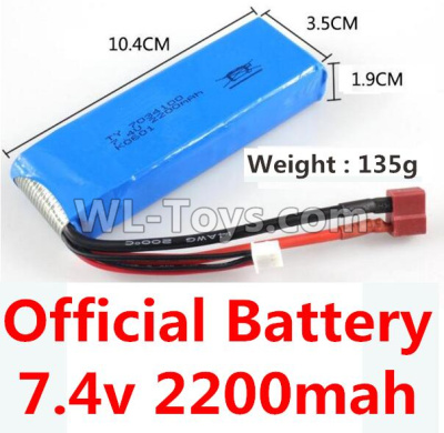 Wltoys 10428-B2 Battery Parts-7.4v 2200mah battery with T-shape plug(Size-10.4X3.5X1.9CM)-(Weight-135g),Wltoys 10428-B2 Parts