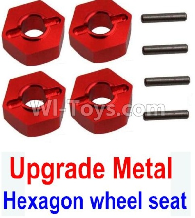 Wltoys 10428-B Upgrade Metal 12MM Hexagon wheel seat Parts,Tire adapter(4pcs)-Red,Wltoys 10428-B Parts