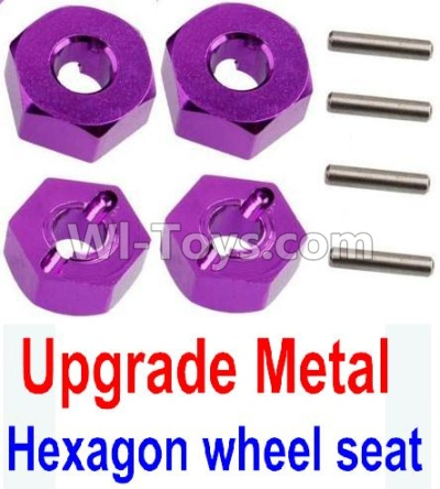 Wltoys 10428-B Upgrade Metal 12MM Hexagon wheel seat Parts,Tire adapter(4pcs)-Purple,Wltoys 10428-B Parts