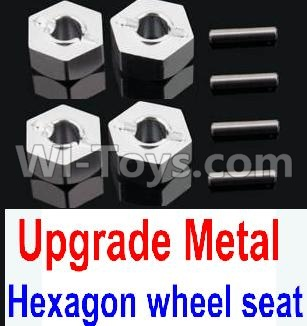 Wltoys 10428-B Upgrade Metal 12MM Hexagon wheel seat Parts,Tire adapter(4pcs)-Silver,Wltoys 10428-B Parts