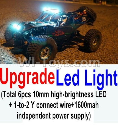 Wltoys 10428-B Upgrade LED light unit Parts(Total 6pcs Light and 1pcs 1-TO-2 Y-shape connect wire & 1600MAH Independent power supply),High speed 1:10 Scale 4wd Car Part