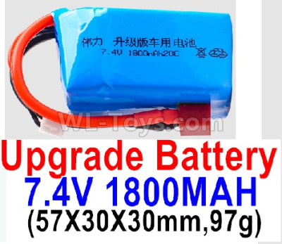 Wltoys 124012 Upgrade Battery-7.4V 1800mah 20C Battery with Red T Plug(1pcs)-(57X30X30mm,97g),1/12 Wltoys 124012 Parts