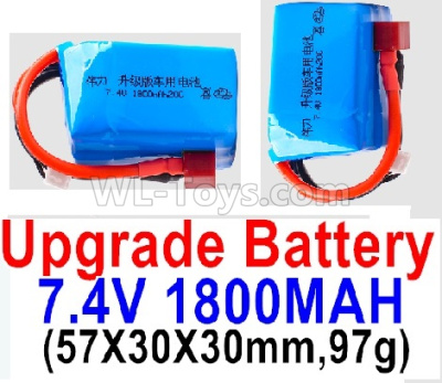 Wltoys 124012 Upgrade Battery-7.4V 1800mah 20C Battery with Red T Plug(2pcs)-(57X30X30mm,97g),1/12 Wltoys 124012 Parts
