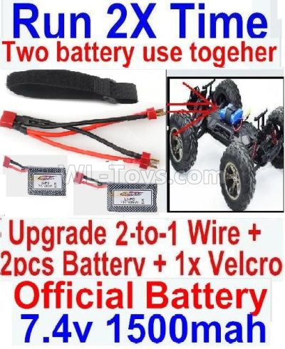 Wltoys 124012 Upgrade 2-to-1 wire and Velcro & 2pcs 1500MAH Battery-Two battery can Be used together,Run 2x Time than usual,1/12 Wltoys 124012 Parts