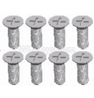 Wltoys 124012 Cross recessed Flat head screws Parts(8PCS)-M3X8 KM-12428.0117,1/12 Wltoys 124012 Parts
