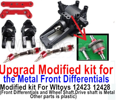Wltoys 12428-A Upgrad Modified kit for the Metal Front Differentials-Option 2(Front Differentials assembly and Wheel shaft is Metal,other parts is plastic)