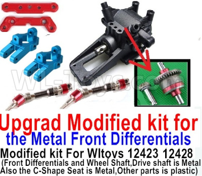Wltoys 12428-A Upgrad Modified kit for the Metal Front Differentials-Option 3(Front Differentials assembly,Wheel shaft and C-Shape Seat is Metal,other parts is plastic)