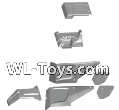 Wltoys 18428 The left and Right Body shell cover& Left and Right Tail wing-Black-0461,Wltoys 18428 Parts