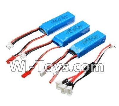 Wltoys A202 A212 A222 Battery Parts-7.4v 500mah Battery(3pcs) & Upgrade 1-to-3 conversion Charging cable(1pcs),Wltoys A202 A212 A222 Parts