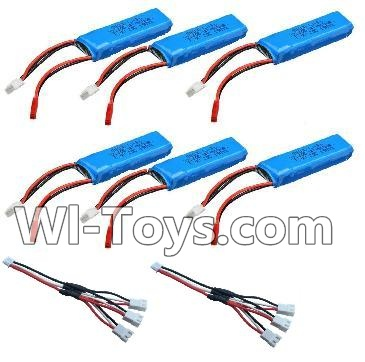 Wltoys A202 A212 A222 Battery Parts-7.4v 500mah Battery(6pcs) & Upgrade 1-to-3 conversion Charging cable(2pcs),Wltoys A202 A212 A222 Parts