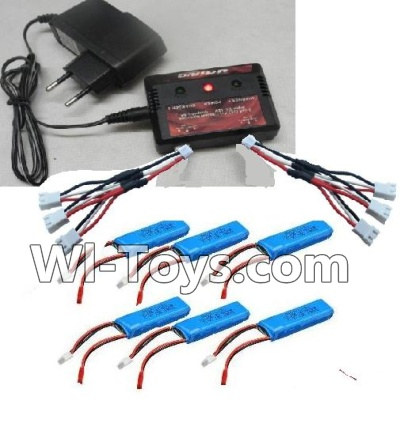 Wltoys A202 A212 A222 Upgrade charger and Balance charger & Battery(6pcs) & Upgrade 1-to-3 wire(2pcs),Wltoys A202 A212 A222 Parts