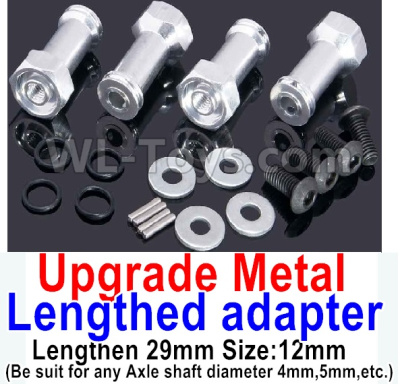 Wltoys A959B A959-B Upgrade Metal Lengthed adapter Parts(4 set)-Lengthen 29mm-Silver,Wltoys A959B A959-B Parts