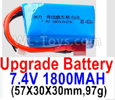 Wltoys K929-B Battery Parts-7.4V 1800mah 20C Battery with Red T Plug(1pcs)-(57X30X30mm,97g),Wltoys K929-B Parts