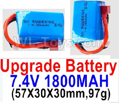 Wltoys K929-B Battery Parts-7.4V 1800mah 20C Battery with Red T Plug(2pcs)-(57X30X30mm,97g),Wltoys K929-B Parts