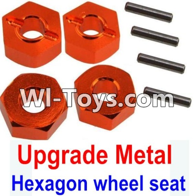 Wltoys 10428 Upgrade Metal 12MM Hexagon wheel seat,Tire adapter(4pcs)-Orange,Wltoys 10428 Parts
