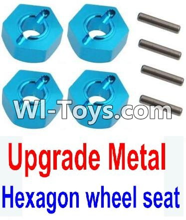 Wltoys 10428 Upgrade Metal 12MM Hexagon wheel seat,Tire adapter(4pcs)-Light Blue,High speed 1:10 Scale 4wd PARTS
