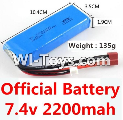 Wltoys K949 Battery Parts-Official 7.4v 2200mah Battery with T-shape plug(Size-10.4X3.5X1.9CM)-(Weight-135g),Wltoys K949 Parts