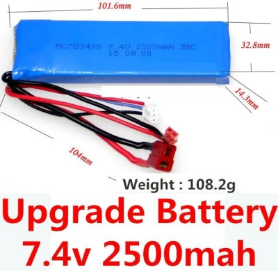 Wltoys K949 Upgrade 7.4v 2500mah 25C Battery with T-shape plug(Size-101.6X32.8X14.3MM)-(Weight-106.3g),Wltoys K949 Parts