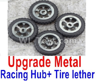 Wltoys P939 Upgrade Metal Racing Hub Parts(4pcs) & Upgrade Racing Trie lether(4pcs)-Black,Wltoys P939 Parts
