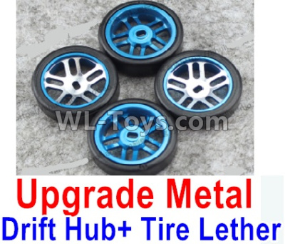 Wltoys K969 Upgrade Metal Drift Hub Parts(4pcs) & Upgrade Drift Trie lether(4pcs)-Blue,Wltoys K696 Parts