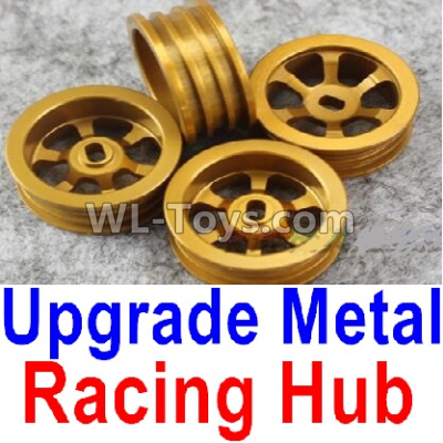 Wltoys K969 Upgrade Metal Racing Hub Parts(4pcs)(Can only match the Racing Tire lether)-Yellow,Wltoys K696 Parts