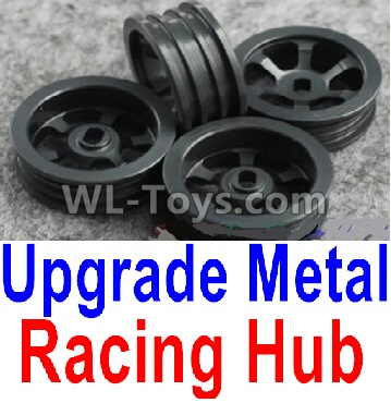 Wltoys K969 Upgrade Metal Racing Hub Parts(4pcs)(Can only match the Racing Tire lether)-Black,Wltoys K696 Parts