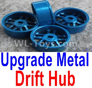 Wltoys K969 Upgrade Metal Drift Hub Parts(4pcs)(Can only match the Drift Tire lether)-Blue,Wltoys K696 Parts