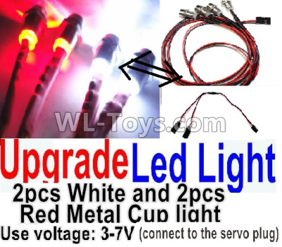 Wltoys P939 Upgrade LED light unit(Total 4pcs Light-2 Red and 2 White-voltage 3-7V),Wltoys P939 Parts