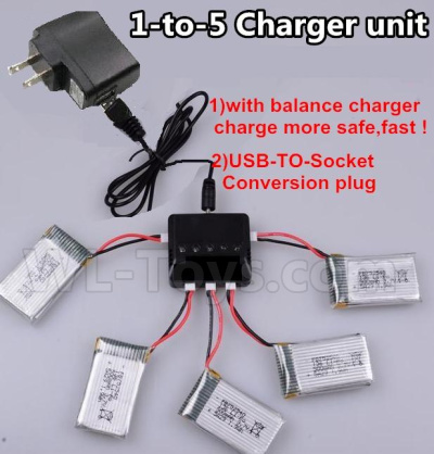 Wltoys V911S Upgrade 1-to-5 charger and balance charger & USB-TO-socket Conversion plug(Not include the 5 battery),Wltoys V911 Parts
