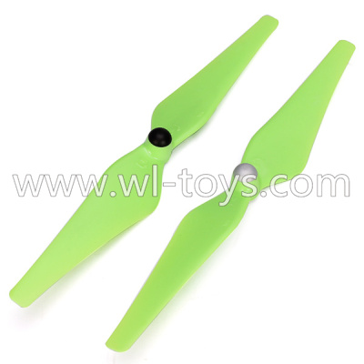 WLtoys V393 Parts-Upgrade Main rotor baldes(2pcs 1x Clockwise and 1x Counterclockwise)-Green